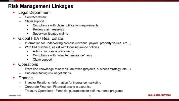 Risk Management Linkages