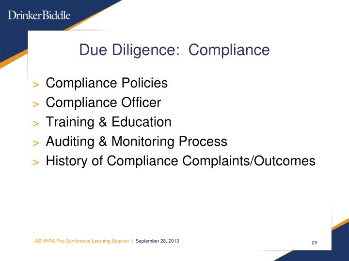 Due Diligence:  Compliance