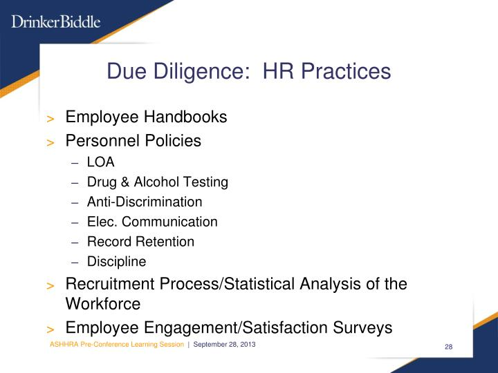 Due Diligence:  HR Practices