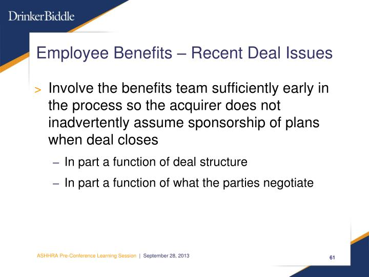 Employee Benefits – Recent Deal Issues