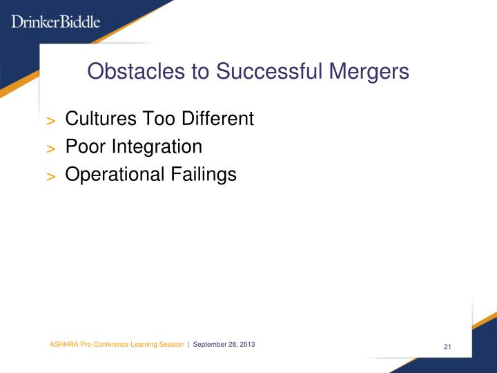Obstacles to Successful Mergers