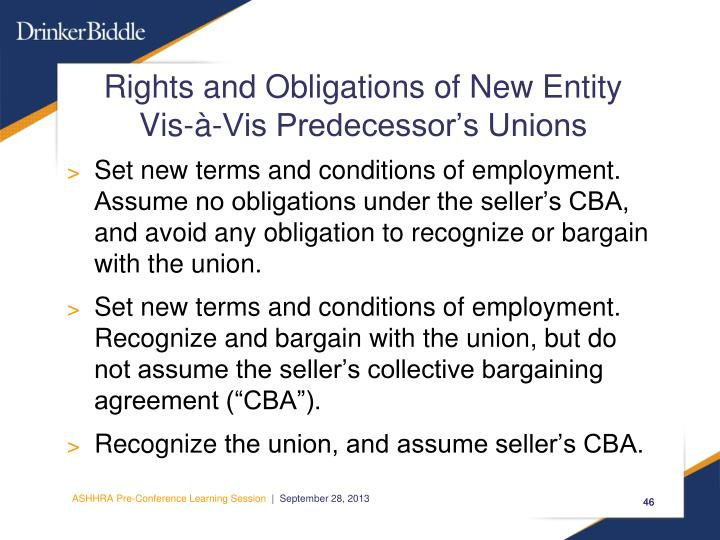Rights and Obligations of New Entity Vis-à-Vis Predecessor's Unions
