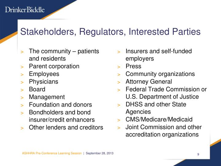 Stakeholders, Regulators, Interested Parties