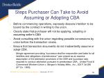 steps purchaser can take to avoid assuming or adopting cba