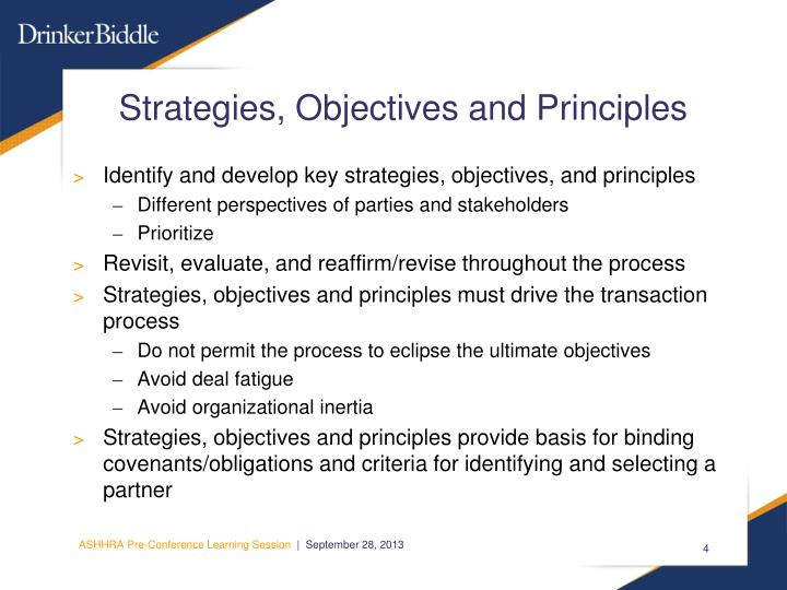 Strategies, Objectives and Principles