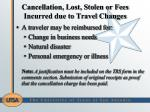 cancellation lost stolen or fees incurred due to travel changes