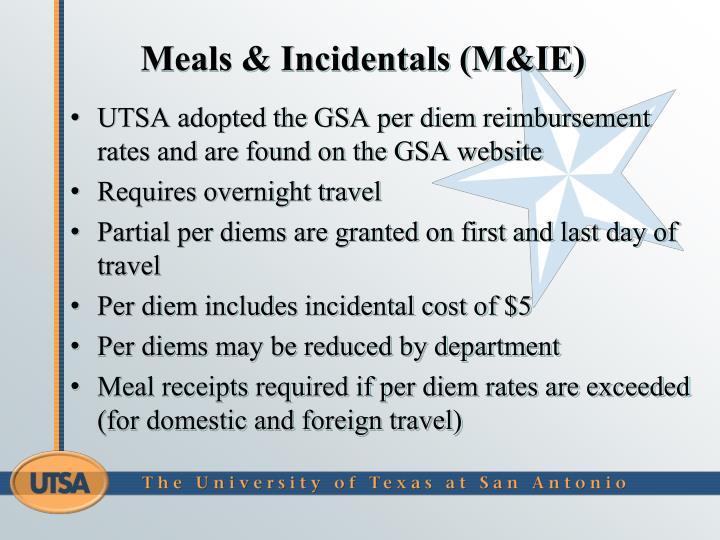Meals & Incidentals (M&IE)