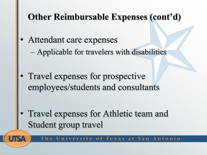 Other Reimbursable Expenses (cont'd)
