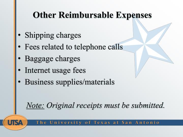 Other Reimbursable Expenses