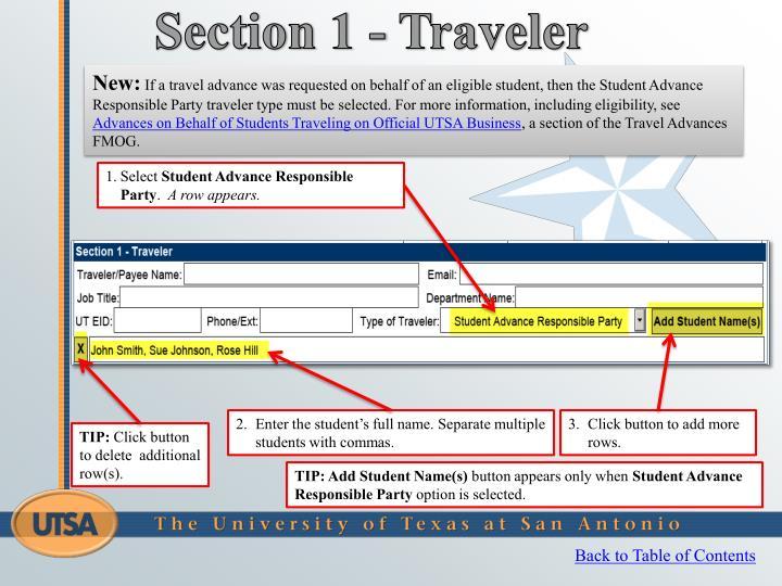 Section 1 - Traveler