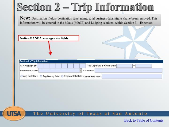 Section 2 – Trip Information