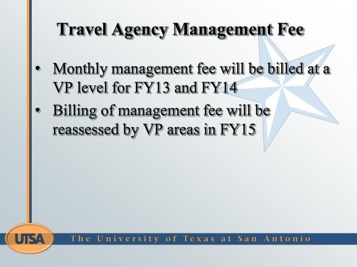 Travel Agency Management Fee