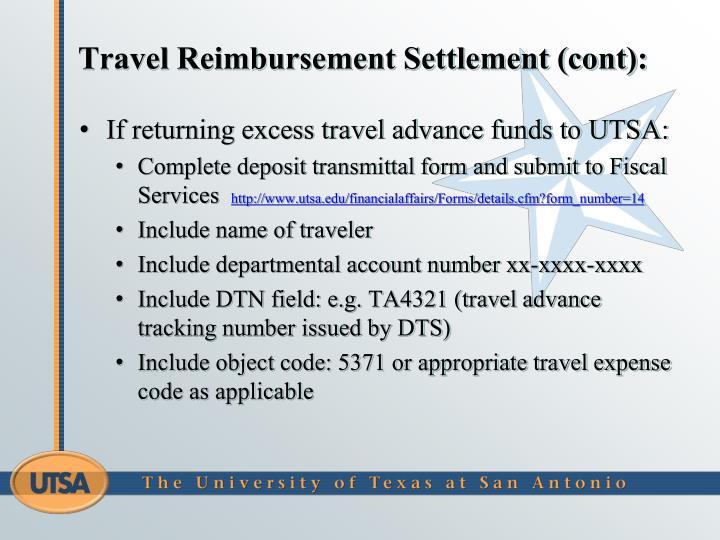 Travel Reimbursement Settlement (cont):