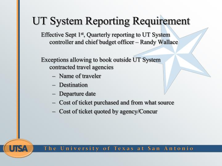 UT System Reporting Requirement