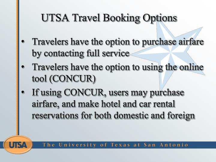UTSA Travel Booking Options