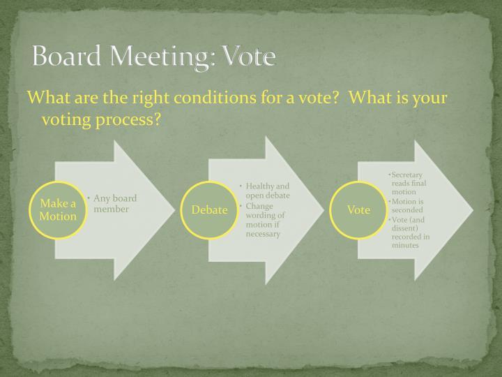 Board Meeting: Vote