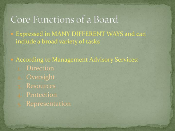 Core Functions of a Board