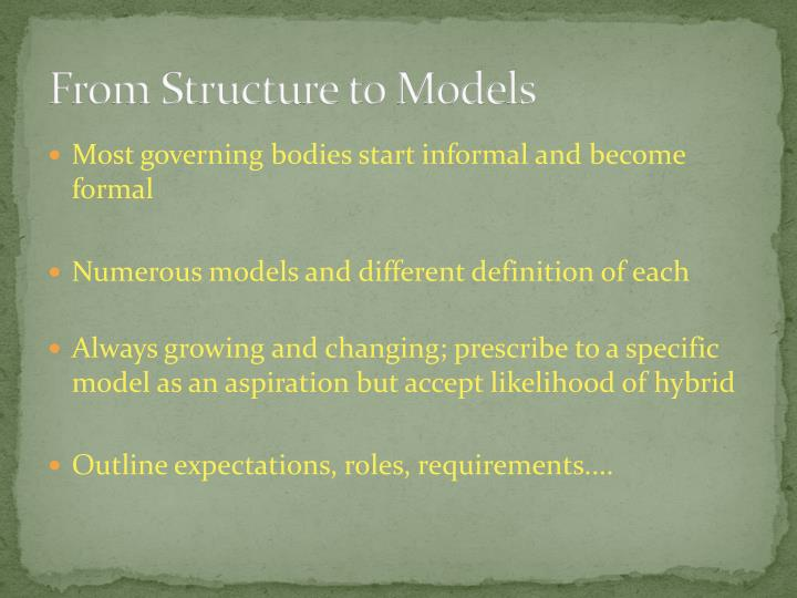 From Structure to Models