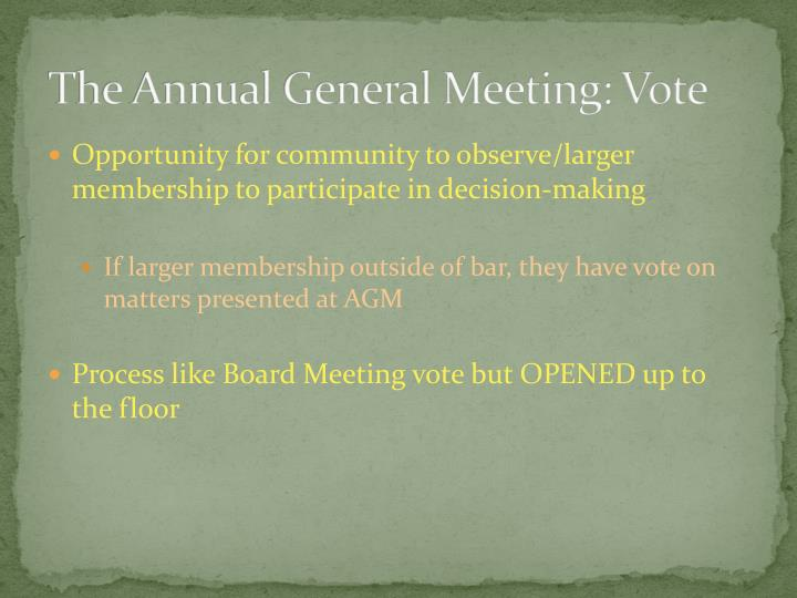 The Annual General Meeting: Vote