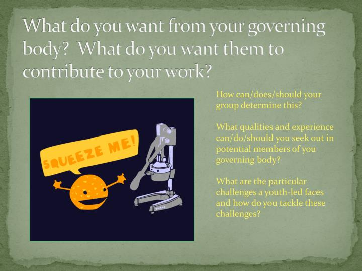 What do you want from your governing body?  What do you want them to contribute to your work?
