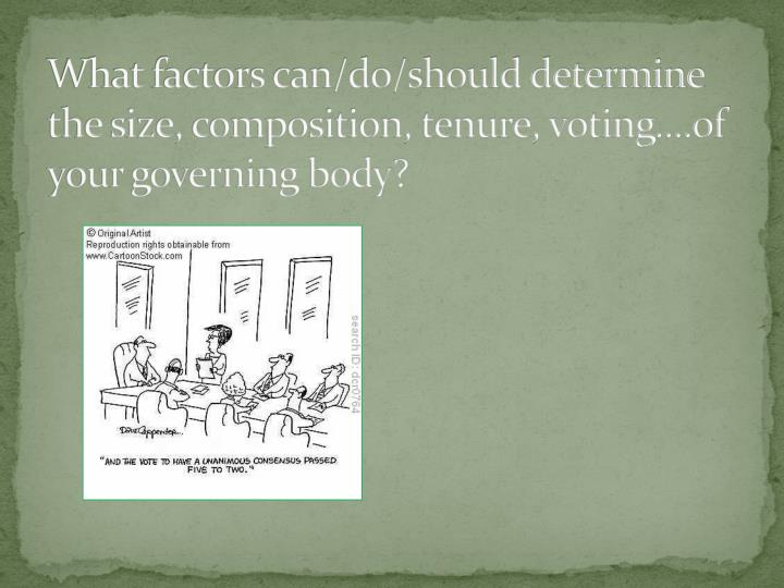 What factors can/do/should determine the size, composition, tenure, voting....of your governing body?
