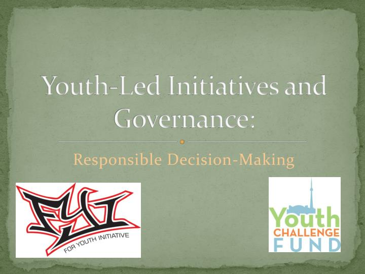 Youth led initiatives and governance