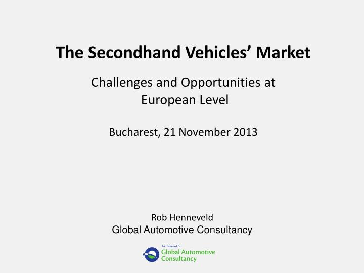 The Secondhand Vehicles' Market