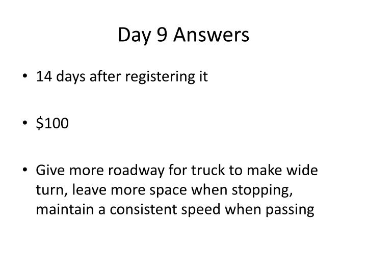 Day 9 Answers