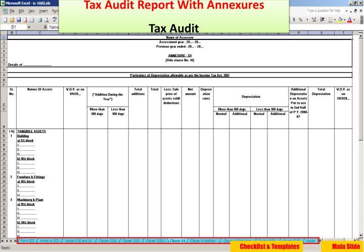 Tax Audit Report With Annexures