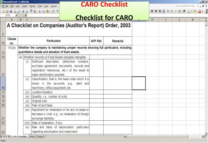 CARO Checklist