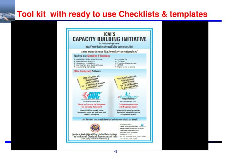 Tool kit  with ready to use Checklists & templates