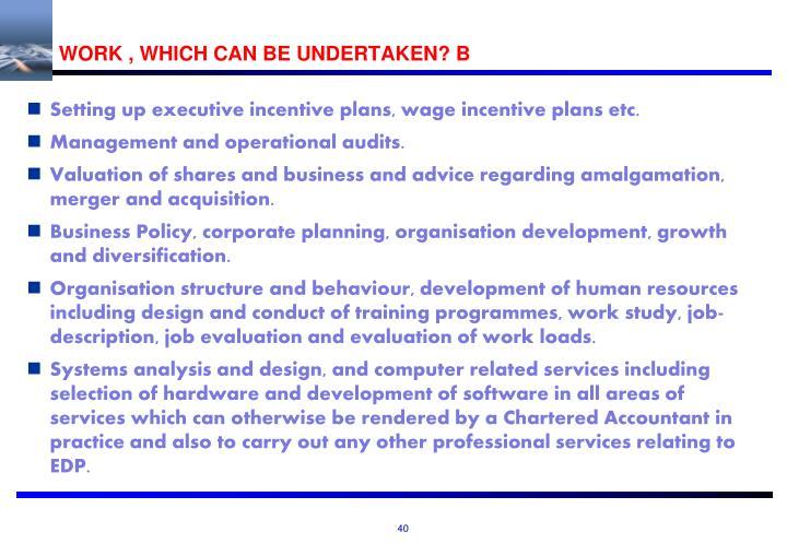 WORK , WHICH CAN BE UNDERTAKEN? B