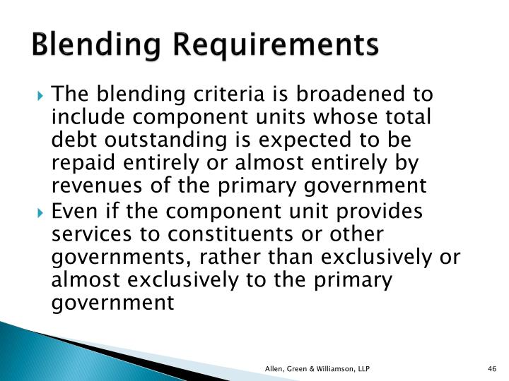 Blending Requirements