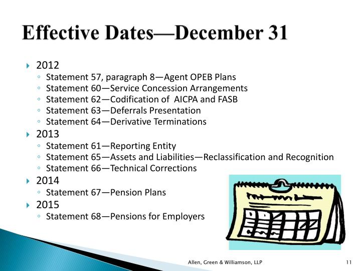 Effective Dates—December 31