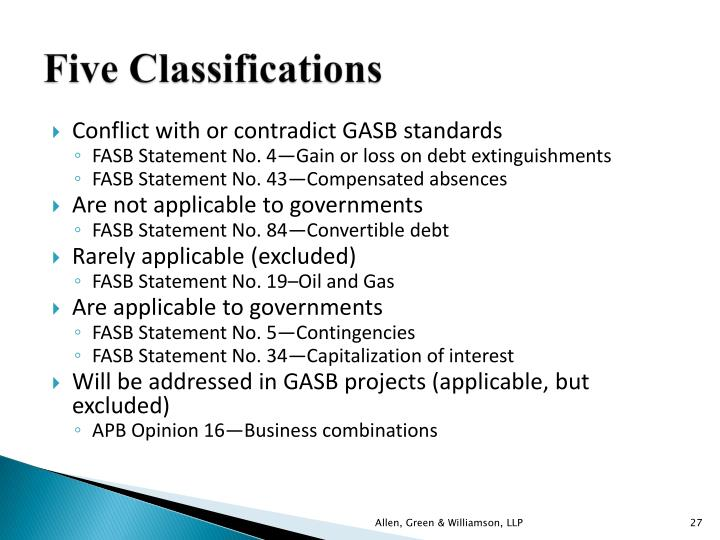 Five Classifications