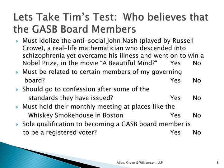 Lets take tim s test who believes that the gasb board members1