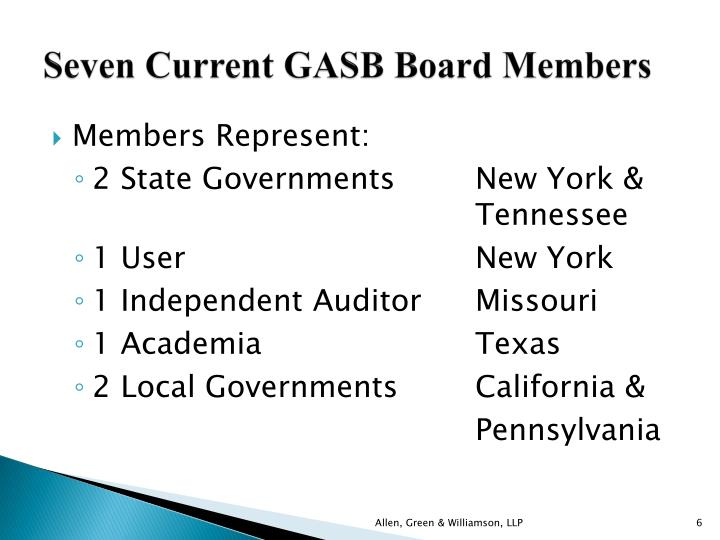 Seven Current GASB Board Members