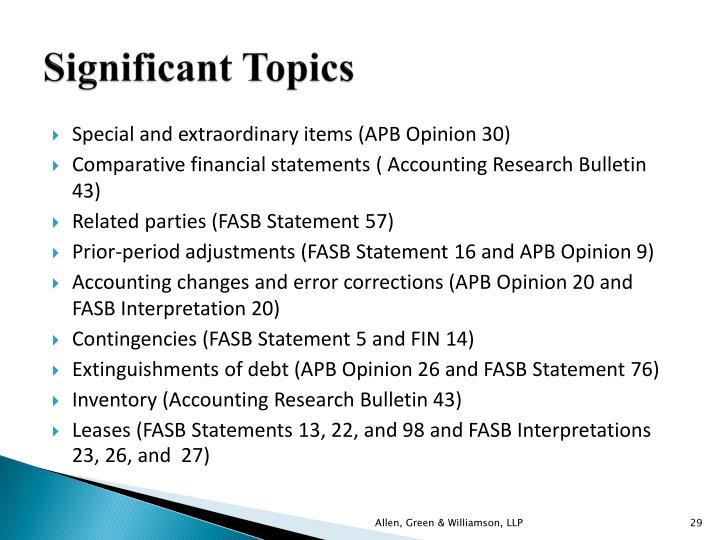 Significant Topics