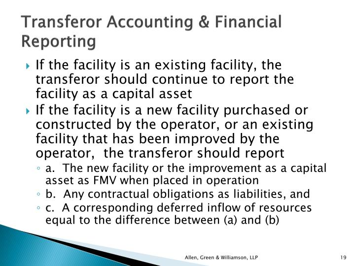 Transferor Accounting & Financial Reporting