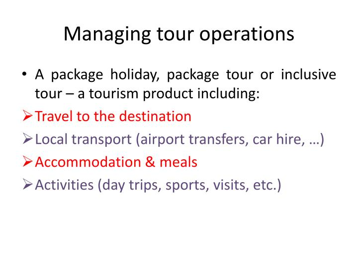 Managing tour operations