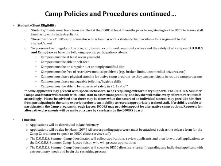Camp Policies and Procedures continued…