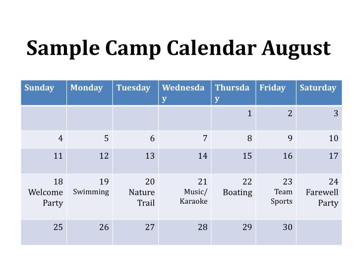Sample Camp Calendar August