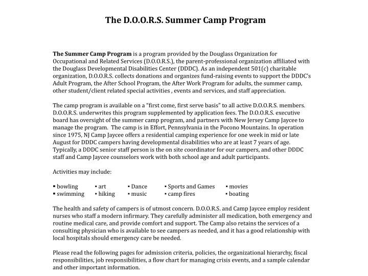The D.O.O.R.S. Summer Camp Program