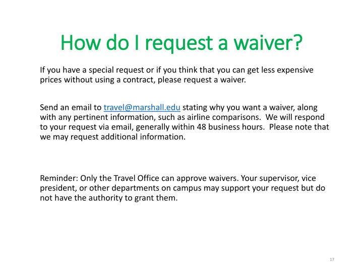 How do I request a waiver?