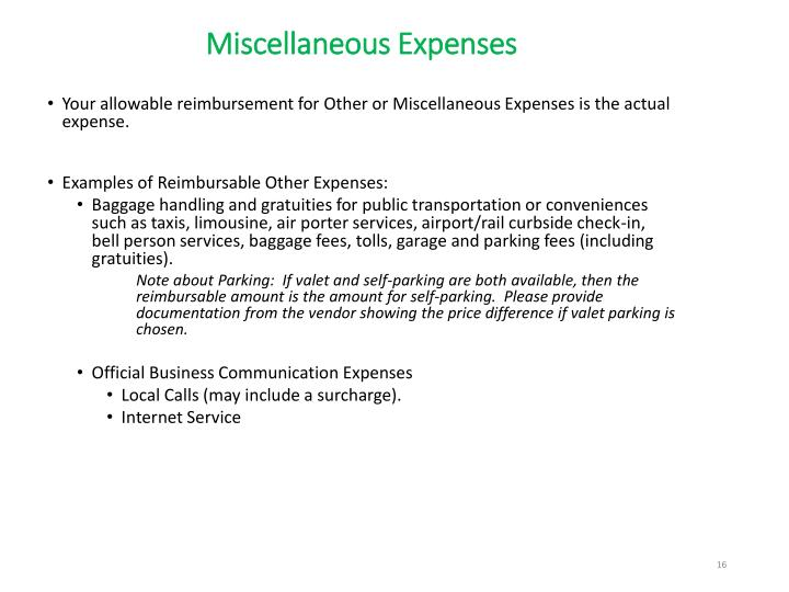 Miscellaneous Expenses