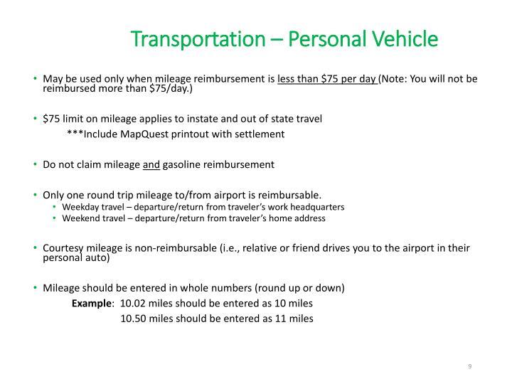 Transportation – Personal Vehicle