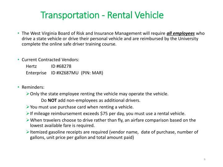 Transportation - Rental Vehicle