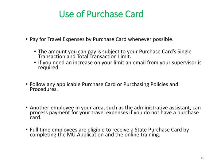 Use of Purchase Card
