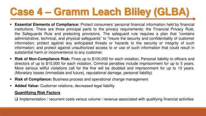 Case 4 – Gramm Leach Bliley (GLBA)