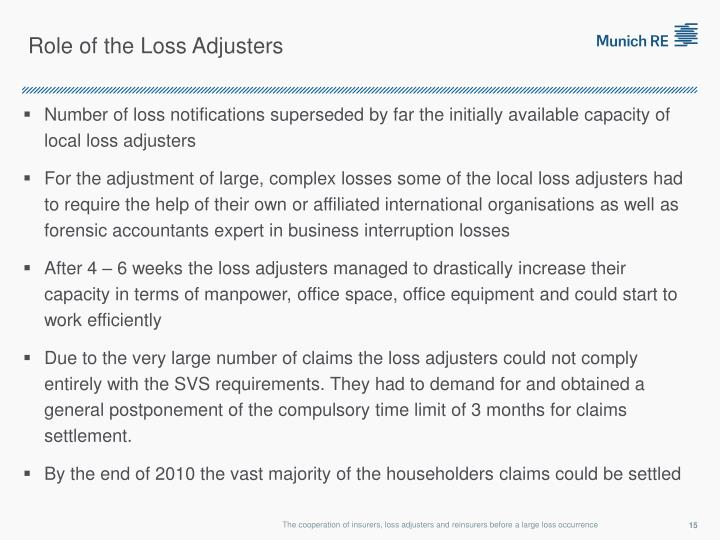 Role of the Loss Adjusters